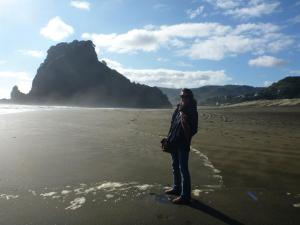 Rae at Piha Beach